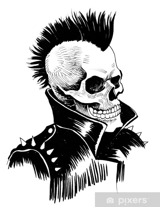 Alfombrilla de baño El punk está muerto. dibujo a tinta de un punk muerto. - Sensaciones y emociones