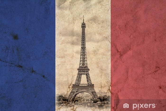 Eiffel Tower In Paris In The Colors Of The French National Flag Background Vintage View Tour Eiffel Old Retro Style Photo With Cracks Crumpled Paper Wall Mural Pixers We Live