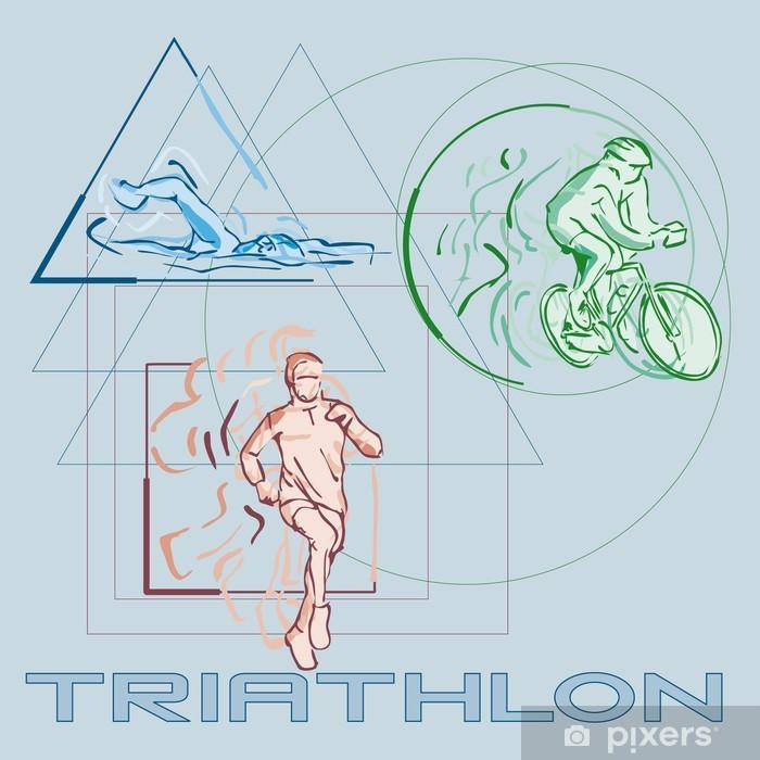 Poster Triathlon - Sports aquatiques