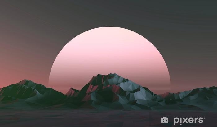 Vinilo Pixerstick Ilustración 3d - paisaje bajo de las montañas polivinílicas en la puesta del sol - Paisajes