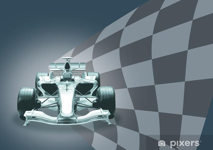 Fototapeta winylowa Formuła 1 samochód i flaga - Tematy