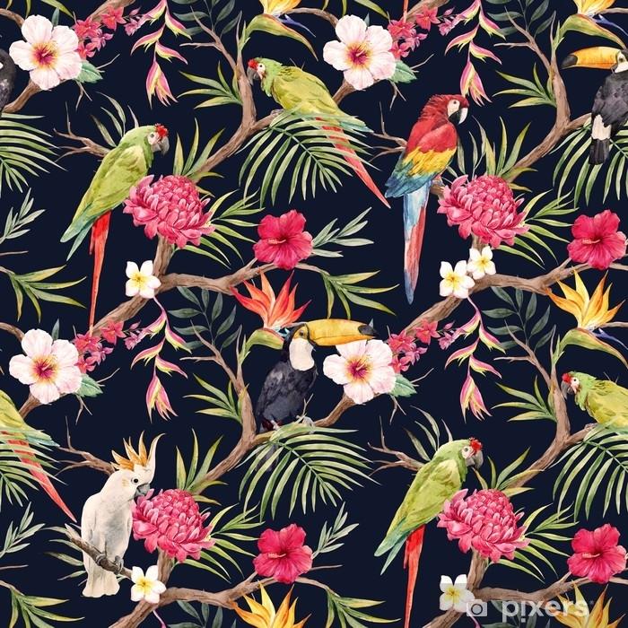 Naklejka Pixerstick Akwarela tropikalny wzór kwiatowy - Rośliny i kwiaty