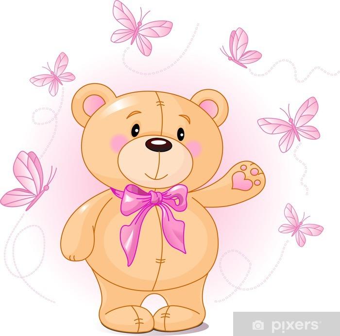 Very cute Teddy Bear waiving hello Pixerstick Sticker - Preschooler