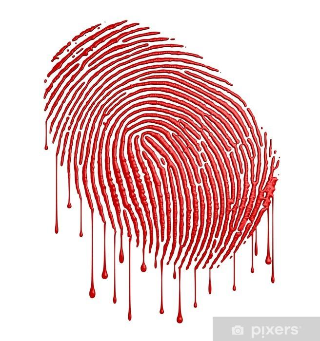 Nálepka Pixerstick Krvavý otisk prstu - Abstraktní