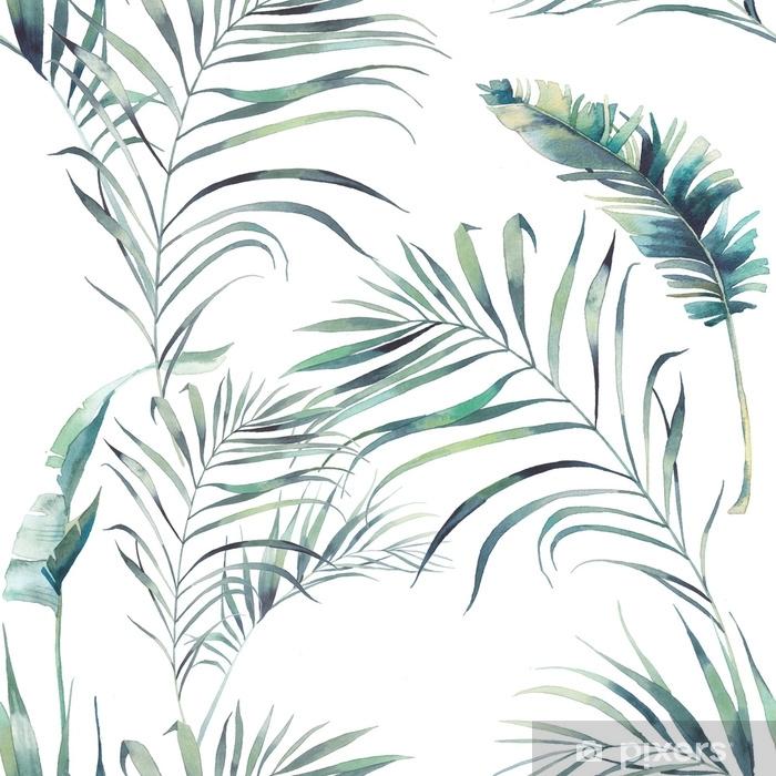 Pixerstick-klistremerke Sommer palme og banan blader sømløs mønster. akvarell grønne grener på hvit bakgrunn. håndlaget eksotisk tapetdesign - Planter og Blomster