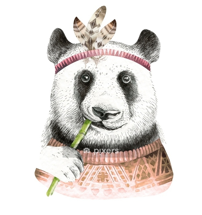Sticker mural Illustration de panda aquarelle. animal mignon bohème. style bohème. impression d'art infirmier. collection de plumes - Animaux
