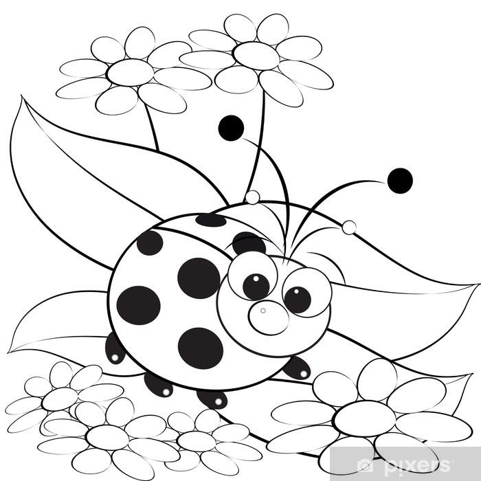 Boyama Uğur Böceği Ve Papatya çıkartması Pixerstick Pixers