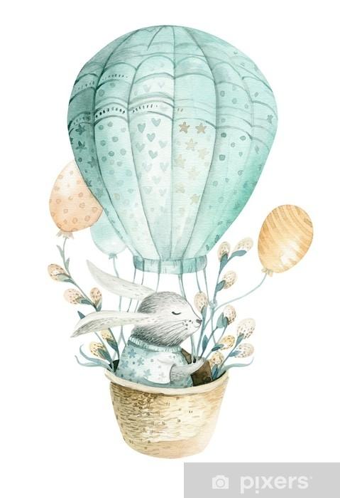 1ce4f89b281 Søde baby kanin dyr, skov illustration til børn tøj. skov akvarel  håndtegnet boho billede til design, planteskole plakater Pixerstick  klistermærke