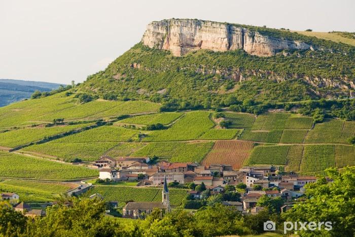 Naklejka Pixerstick La Roche de Solutré z winnic, Burgundii, Francja - Europa