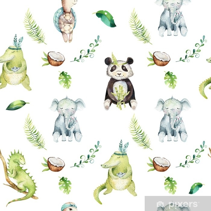 Baby Animals Nursery Isolated Seamless Pattern Watercolor Boho Tropical Drawing Child