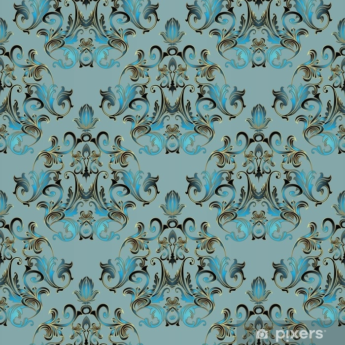 Damask floral seamless pattern light blue background - Light blue linen wallpaper ...