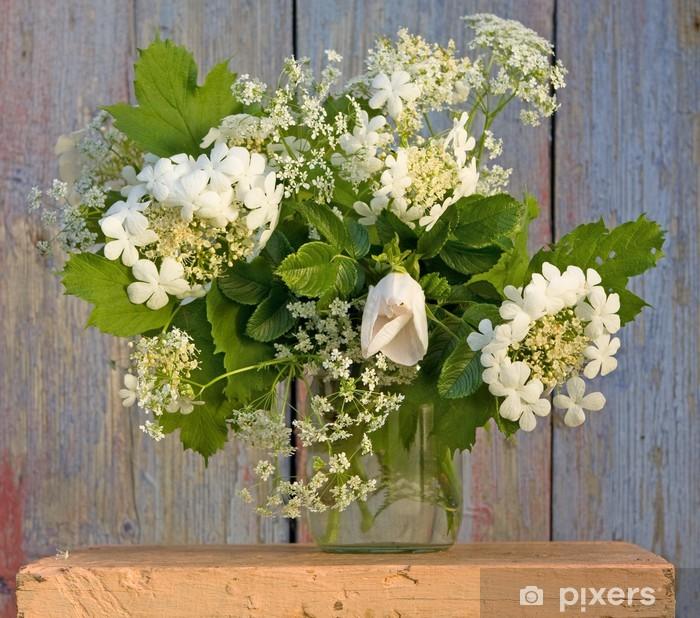 Fiori Bianchi In Vaso.Carta Da Parati Bouquet Nel Vaso Con I Fiori Bianchi Pixers