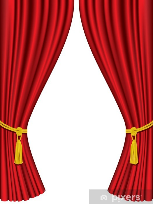 Theater Curtains Isolated On White Background Wall Mural
