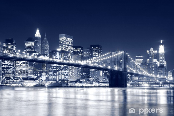 Brooklyn Bridge and Manhattan skyline At Night, New York City Pixerstick Sticker -