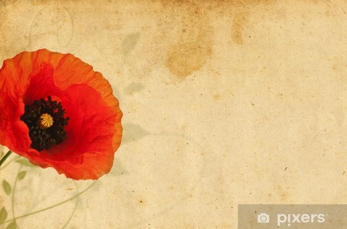 Papier peint vinyle Graphisme, floral design coquelicot sur vieux papyrus - Thèmes