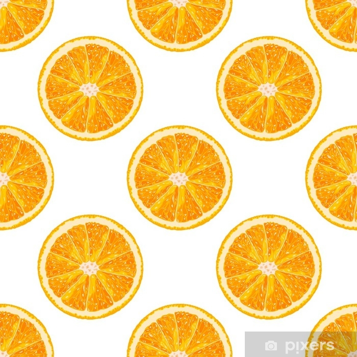 Vector seamless pattern of orange slice  Realistic citrus background Wall  Mural - Vinyl