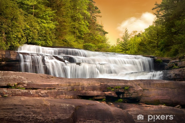 Motion Blur Waterfalls Nature Landscape in Mountains Sunset Vinyl Wall Mural - Themes