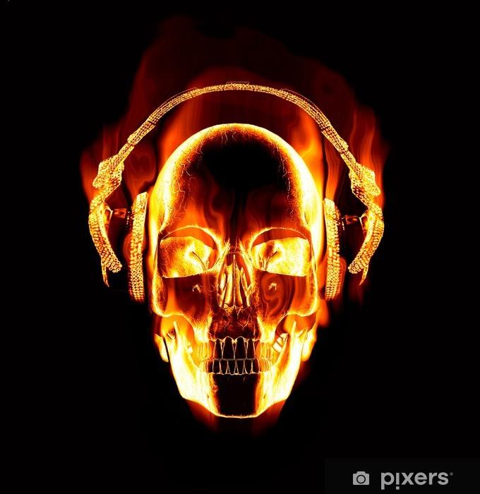 Vinilo Pixerstick Gran imagen de flaming skull el uso de auriculares - Destinos