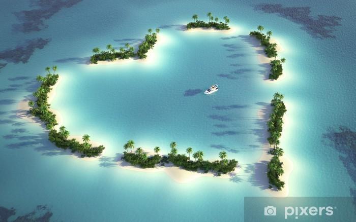 Naklejka Pixerstick Widok z lotu ptaka wyspa w kształcie serca - iStaging