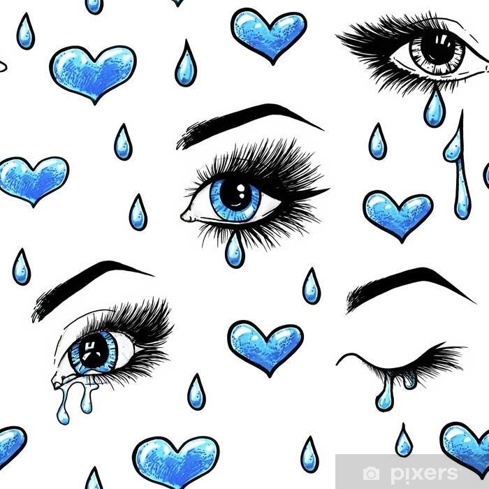 Naklejka Pixerstick Piękne otwarte kobiece niebieskie oczy z długimi rzęsami jest izolowana na białym tle. ilustracja szablon makijażu. szkicowanie kolorami. łzy w oczach. nie odwzajemnione uczucie. wzór dla projektu - Uczucia i emocje