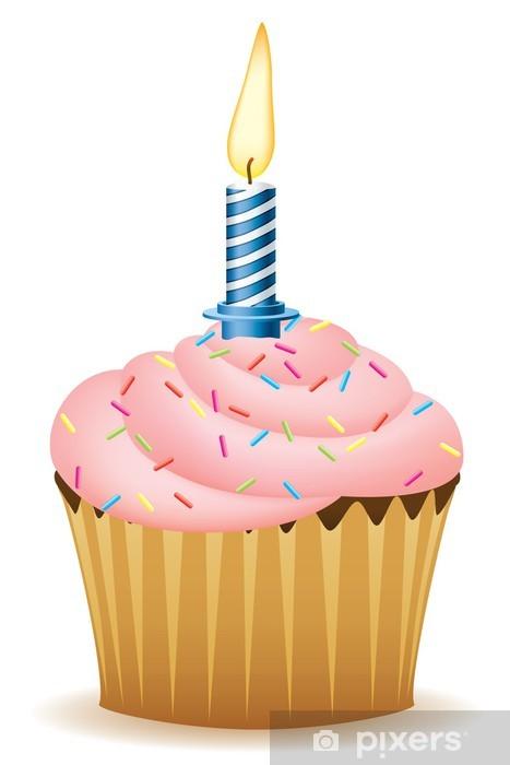 Fototapete Alles Gute Zum Geburtstag Cupcake Mit Kerze Vektor Bild