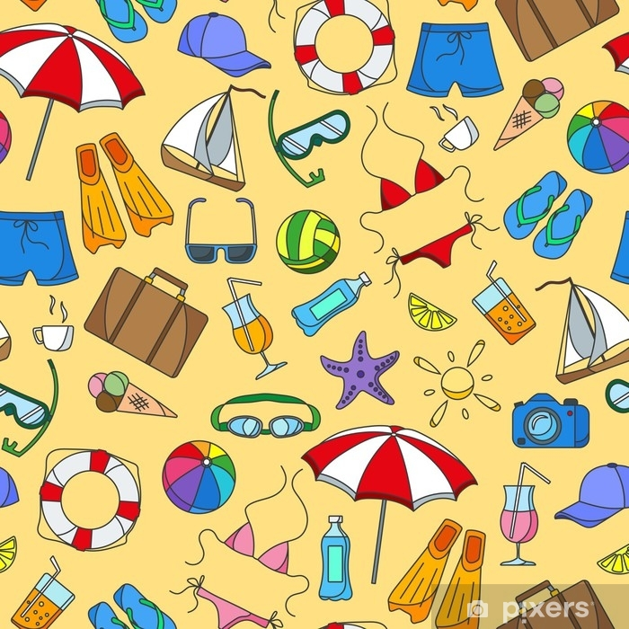 Poster Nahtlose Muster zum Thema Sommerferien in heißen Ländern, einfache Farbsymbole auf gelbem Hintergrund - Hobbys und Freizeit