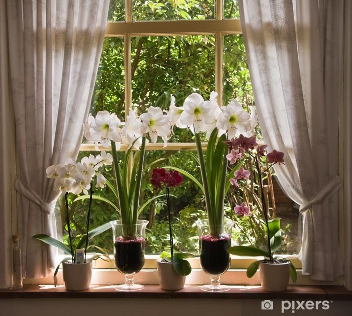 Pixerstick Sticker Veel bloemen in oude venster - iStaging