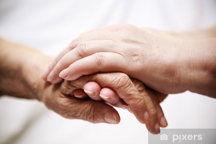 Vinilo Pixerstick Adulto mayor ayuda en el hospital - Partes del cuerpo