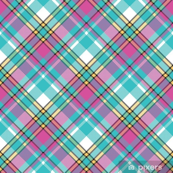 Baby color check fabric pixel texture seamless pattern Vinyl Wall Mural - Graphic Resources