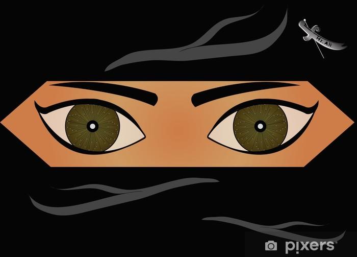 Papier peint vinyle Femme musulmane portant le voile noir - Parties du corps