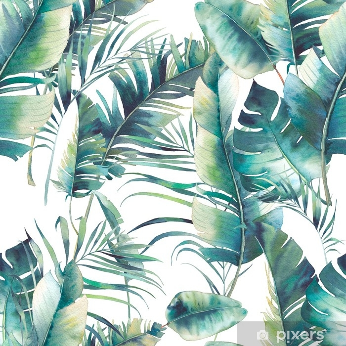 Summer palm tree and banana leaves seamless pattern. Watercolor texture with green branches on white background. Hand drawn tropical wallpaper design Pixerstick Sticker - Plants and Flowers
