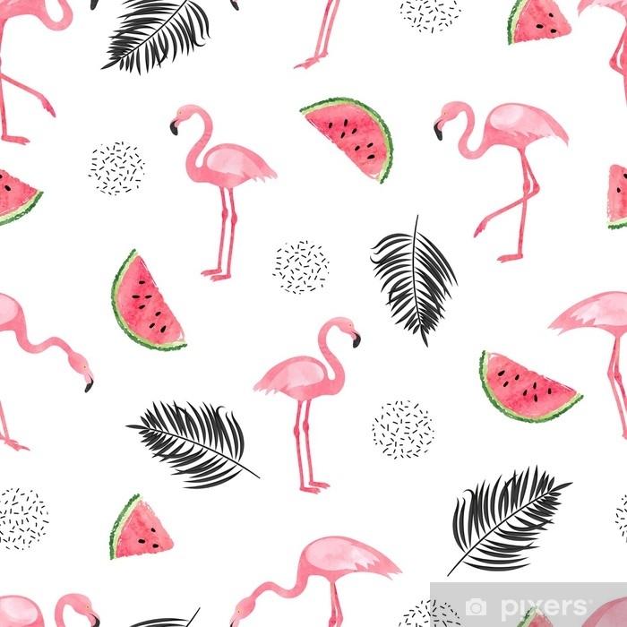 Pixerstick-klistremerke Sømløs tropisk trendy mønster med akvarellflamingoer, vannmelon og palmeblader. vektor sommer bakgrunn. - Dyr