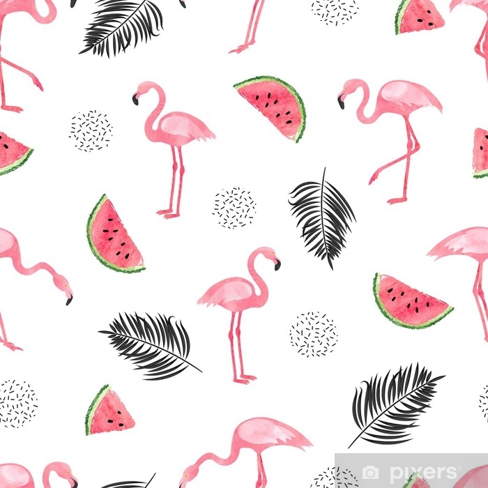 Seamless tropical trendy pattern with watercolor flamingos, watermelon and palm leaves. Vector summer background. Vinyl Wall Mural - Animals