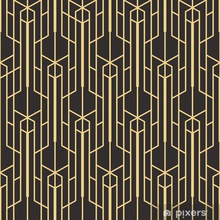 Sticker Pixerstick Abstrait art déco sans couture monochrome - Ressources graphiques