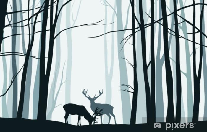 Laptop Sticker Boslandschap met blauwe silhouetten van bomen en herten - vectorillustratie - Landschappen