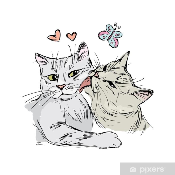 Vinilo Pixerstick Un Par De Gatos Enamorados Dibujo A Mano Aislado