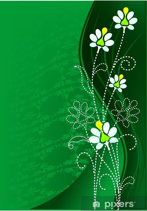 Carta Da Parati Fiore Sfondo Verde Con Disegno E Turbolenza Pixers