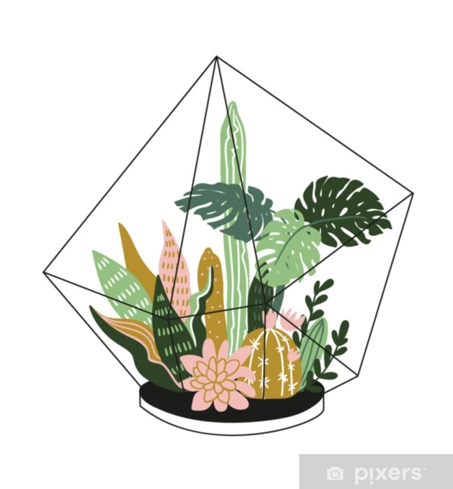 Hand Drawn Contained Tropical House Plants Scandinavian Style Illustration Modern And Elegant Home Decor Vector Print Design With Terrarium With Tropical Plants Wall Mural Pixers We Live To Change
