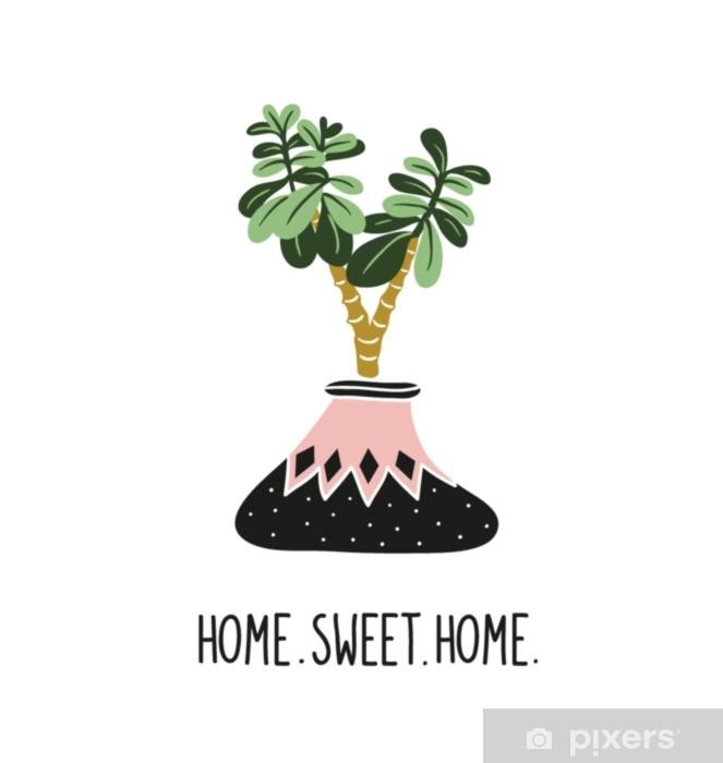 Papier Peint Plantes Tropicales Dessinees A La Main Illustration De Style Scandinave Decoration Moderne Et Elegante Dessin Vectoriel Avec Lettrage Home Sweet Home Et Crassula Arbre D Argent Pixers Nous