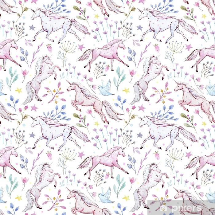 Pixerstick Aufkleber Aquarell Einhorn Muster - Tiere