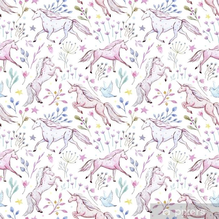 Naklejka Pixerstick Akwarela jednorożca wzór - Zwierzęta