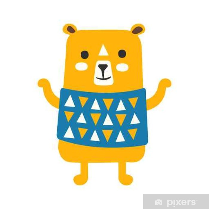 Cute orange teddy bear in blue vest standing  Funny lovely animal colorful  cartoon character vector Illustration Poster