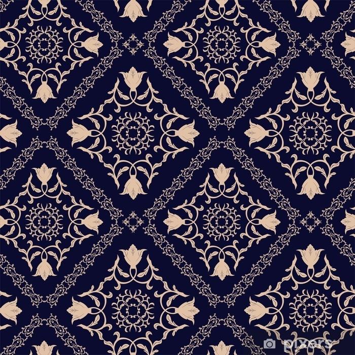 b9d6e483d81a Autocolante Estampa floral. papel de parede barroco, damasco. fundo de vetor  sem costura. ornamento azul escuro Pixerstick