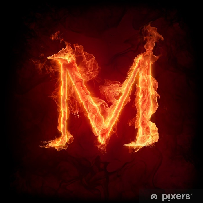 Fire letter M Poster - Textures