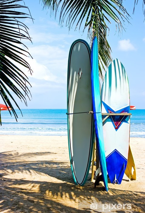 Surf boards on the beach Vinyl Wall Mural - Water