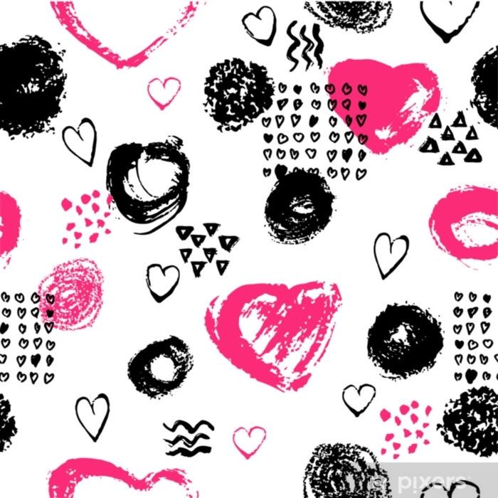4e79230af7 Carta da Parati in Vinile Vector seamless con strisce di pennello e tratti.  colore rosa nero su sfondo bianco. texture grange dipinte a mano. ...