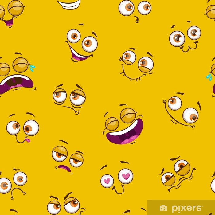 Papier peint vinyle Modèle sans couture avec des visages comiques drôles sur fond jaune. - Passe-temps et loisirs