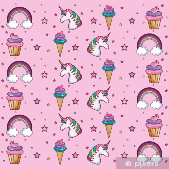 Papier Peint Modèle Kawaii Avec Cornet De Crème Glacée Cupcake étoiles Et Arcs En Ciel Sur Fond Rose Illustration Vectorielle