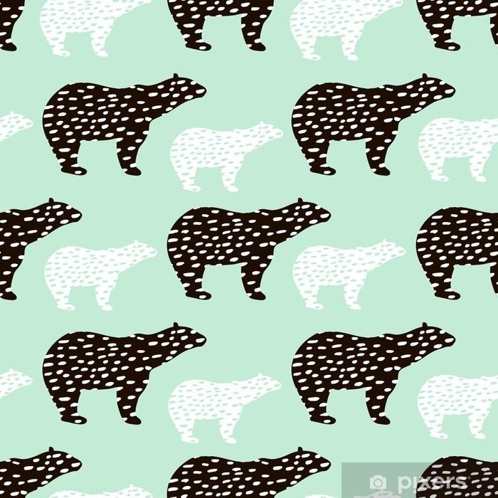 8903d91ec Fototapet av vinyl Sømløs mønster med isbjørn silhuett. perfekt for stoff,  textile.vector bakgrunn