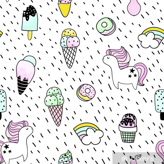 38fe72a53 Fototapet av vinyl Kreativt sømløst mønster med enhjørning, doughnut,  iskrem, regnbue. doodle barnslig bakgrunn. vektor illustrasjon